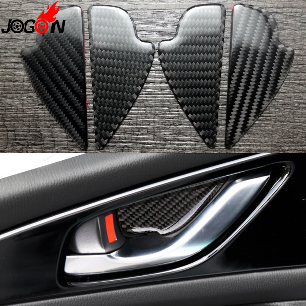 for mazda3 mazda 3 axela 2017 facelift carbon fiber car interior front rear door handle bowl. Black Bedroom Furniture Sets. Home Design Ideas