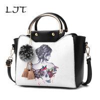 LJT Women Hand Bag 2018 New Personalized Printing Luxury Handbags Fashion Casual Shoulder Messenger Bag Graffiti