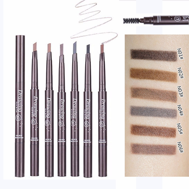 6 Color New Eyes Make Up Double Head Eye Brow Enhancer Tattoo Paint Eyebrow Tint Waterproof Black Brown Makeup Eyebrow Pencil