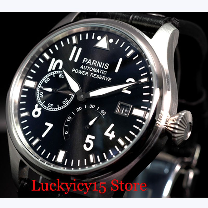 PARNIS Power Reserve Auto Date 47mm Mechanical Men's Watch <font><b>ST2530</b></font> Auto Movement Black Leather Strap image