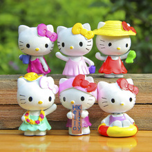 Hot 6pcs/lot Summer swimsuit Hello Kitty Action & Toy Figures kids toys gift 4.4cm