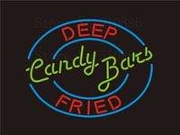 Custom Signage NEON SIGNS Deep Fried Candy Bats Real GLASS Tube BAR PUB Signboard Display Decorate Store Shop Light Sign 17*14