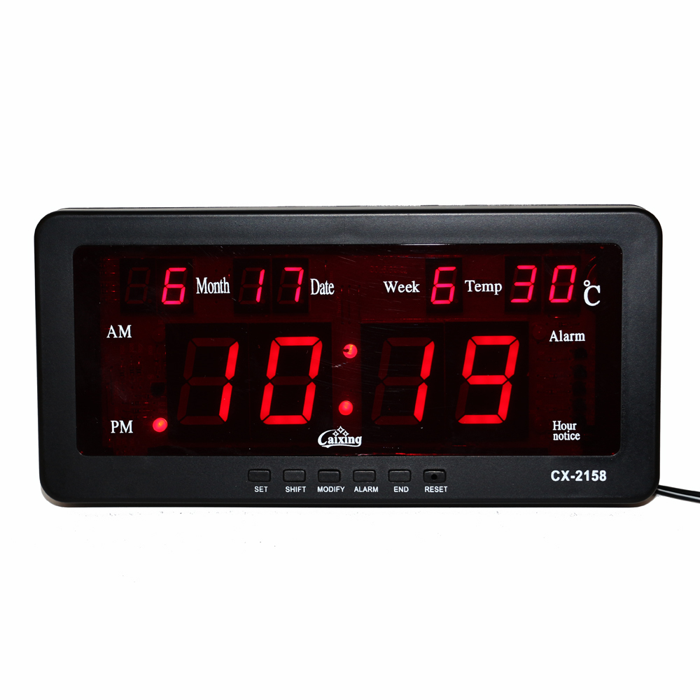 Alarme électronique Horloge Numérique LED Calendrier Montre avec Semaine et Date Température Intérieure Carillon Horaire Fonction LED Horloge Murale