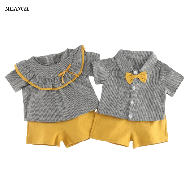 MILANCEL 2018 Girls Clothing Set Plaid Cute Baby Boys Clothes Set Toddler Boys Set Short Sleeve Tops Solid Shorts 2Pcs Kids Set 3pcs outfit infantil girls clothes toddler baby girl plaid ruffled tops kids girls denim shorts cute headband summer outfits set