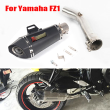 FZ1 Motorcycle Slip on Full Muffler Exhaust System Pipe Tip Silencer Escape Middle Mid Connect Link Pipe Slip on for Yamaha FZ1 fz1 motorcycle carbon fiber exhaust pipe middle mid link connect tube slip on whole set pipe for yamaha fz1