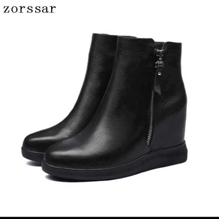 Suave Zapatos Casuales {zorssar} La Cómodas Botas Mujeres Negro 2019 Cuña Genuino Cuero De Madre Las Moda F7Fqz8fn