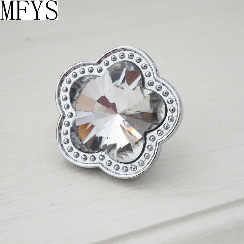 Rhinestone Glass Knobs Crystal Dresser Drawer Pulls Handles Flower Cabinet Door Handle Silver Clear Furniture Bling