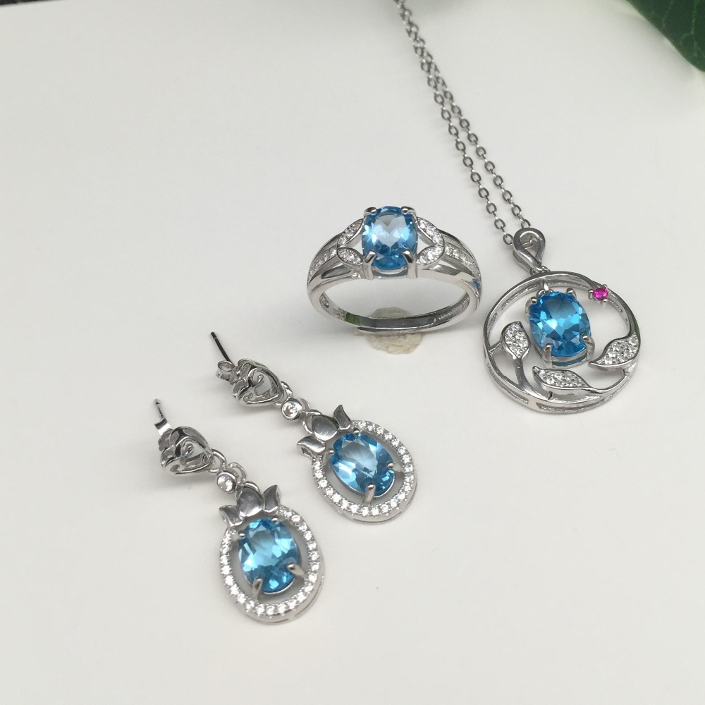 KJJEAXCMY boutique jewels 925 silver inlay natural blue topaz ring pendant earrings bracelet 4 suit jewelry necklace sent vbty kjjeaxcmy boutique jewels 925 silver inlay natural pink topaz ring pendant earrings bracelet 4 suit jewelry necklace sen