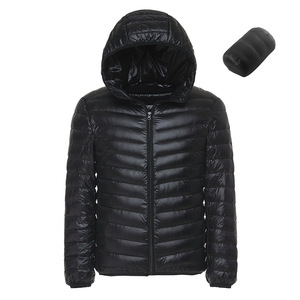 Image 3 - Spring and Autumn Fashion Boutique White Duck Down Solid Color Lightweight Mens Casual Hooded Down Jacket Male Down Jacket