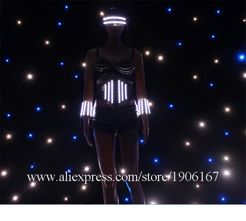 Hot Sale Led Luminous Glasses Ballroom Sexy Women Event Party Dress Performance Flashing Stage Dance Show Waistband Clothes