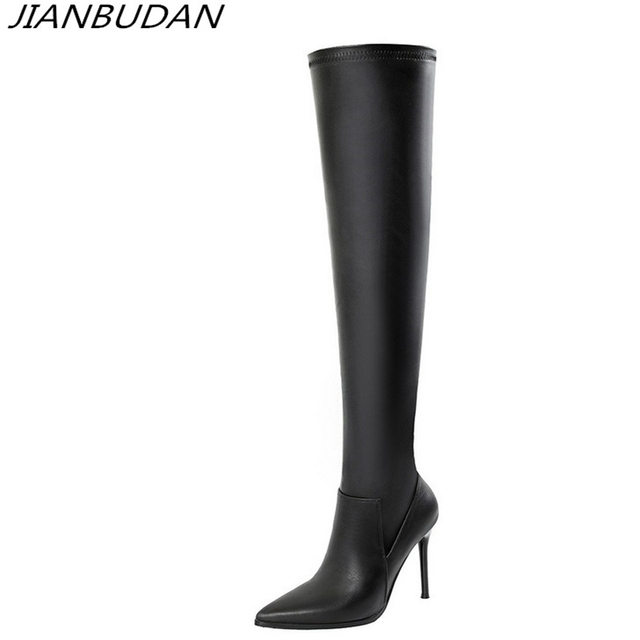2ea32a0996e36 JIANBUDAN /High quality pu leather luxury women's Stretch boots Heel height  11cm sexy thigh high boots thigh boots Black size 39