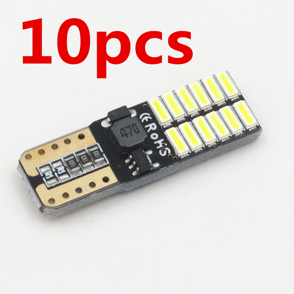 10X No polarity Canbus T10 bulbs with 4014 SMD 24 led Interior Light 194 168 W5W LAMP white NO OBC ERROR Amber Red