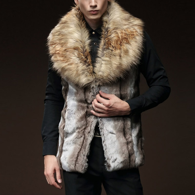 Artificial Wool Plus Size Men Vest Male Winter Coat Sleeveless Fake Fur Collar Chaleco Hombre Colete Masculino Social Outwear