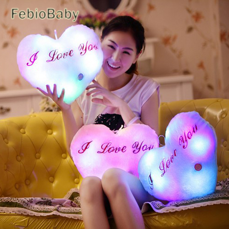 Creative Heart Shaped Pillow Plush Light Up LED Toys Glowing Toys With English Letter Lovers Gift for Girl Friend Stuffed Pillow image