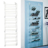 4 Layers 12 Pairs of Shoe Racks PP plastic Spray Iron Pipe Over the Door Hanging Shoe Organizer Shoe Holder for Closet