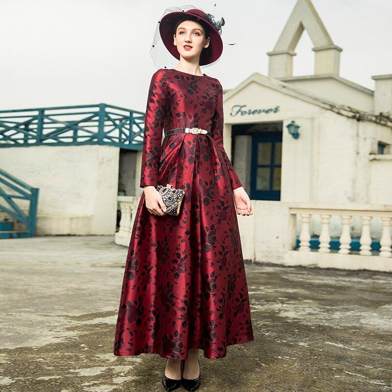 Piste Trench Bal Longue Floral Jaquard Robe Soirée 2018 Parti De Nouvelle Femmes 9071 Année xnqPF6