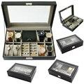 2019 lujosa caja de reloj de 8 + 3 rejillas caja de reloj caja de joyería caja de tiempo organizador de joyería joyero para joyería Y la