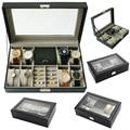 2020 de lujo 8 + 3 redes caja de reloj caja de joyas caja de tiempo organizador de la joyería de joyas titular de la joyería Y la