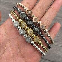 Trendy Men Bracelet 4colors Braided Macrame Beads Charm Bracelet Adjustable Strand Bead Bracelet For Women Jewelry Gift braided strand bracelet watch