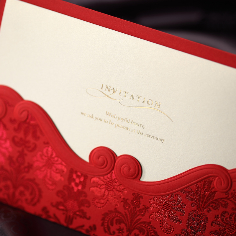 50pcs Red Laser Cut Marriage Wedding Invitations Cards Greeting Card 3D Card Postcard Wedding Decoration Event Party Supplies 1pcs sample laser cut bride and groom marriage wedding invitations cards greeting cards 3d cards postcard event party supplies