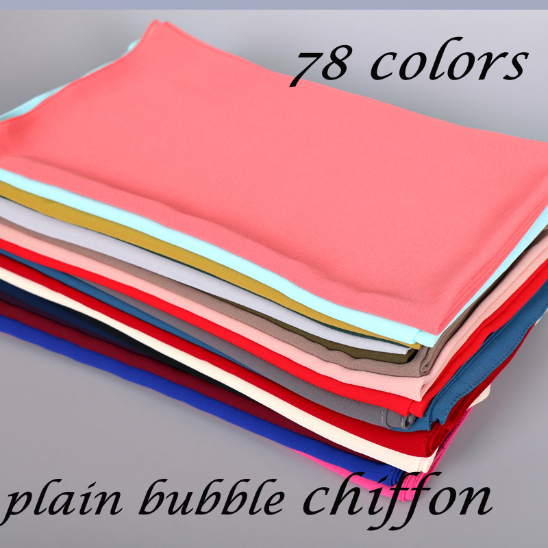 20pcs/lot plain bubble chiffon hijab muslim scarf long wraps solid color shawl women's scarves Plain head scarf headband 78color-in Women's Scarves from Apparel Accessories
