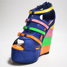 Colorful Suede Women's Wedge Heel Sandals Shoes Fashion Comfortable 2015 Solid chaussure femme  Cover Heel Mixed Colors