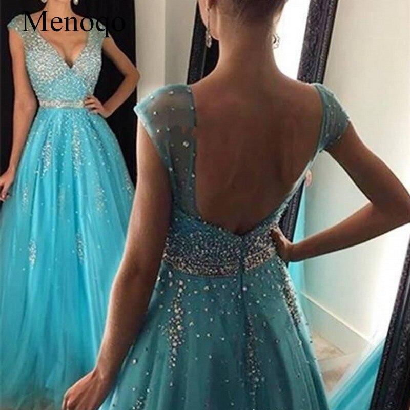 Menoqo Vestidos De Festa   Prom     Dresses   V neck Sleeveless Tulle Crystal A-line Long Evening   Dresses   W1701167