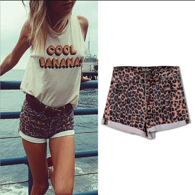 e7b999590b Stylish Wild Sexy Leopard Print Denim Shorts Women High waist Cuffs Jeans  Shorts Casual Party Hot