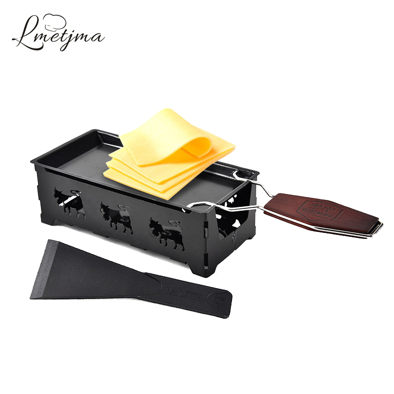 LMETJMA Swiss Cheese Roasters Practical Mini Cheese Oven With Wooden Handle Nonstick Cheese Baking Tray BBQ Tools KC0129(China)