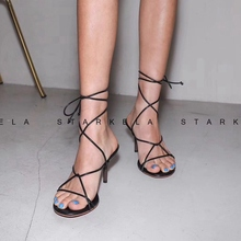2019 Fashion Narrow Band Gladiators Sandals High Heel Party Shoes Sexy Dress Shoes Casual Summer Cross Tie Lace Up Sandals Shoes недорго, оригинальная цена