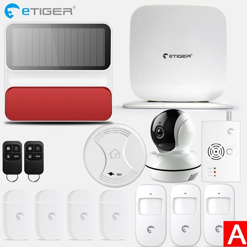 Etiger беспроводной Secual Box Wi-Fi/GSM сигнализация умный дом Комплект с датчиком движения PIR IP wifi камера Беспроводной детектор дыма