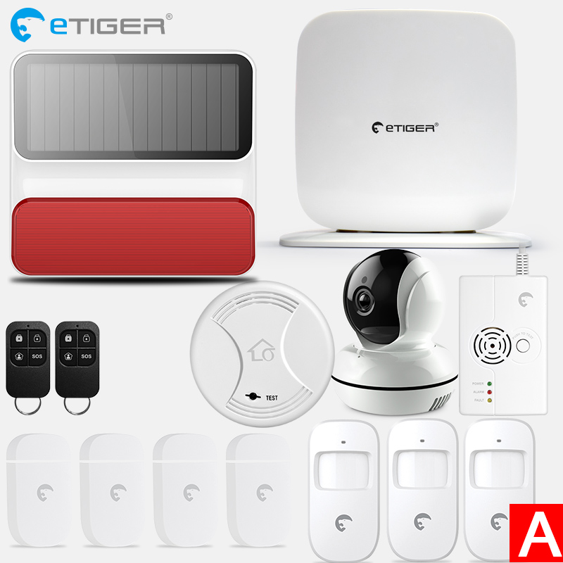 eTiger Wireless Secual Box Wi-Fi / GSM Alarm System Smart home Kit with PIR motion sensor IP wifi camera Wireless Smoke Detector