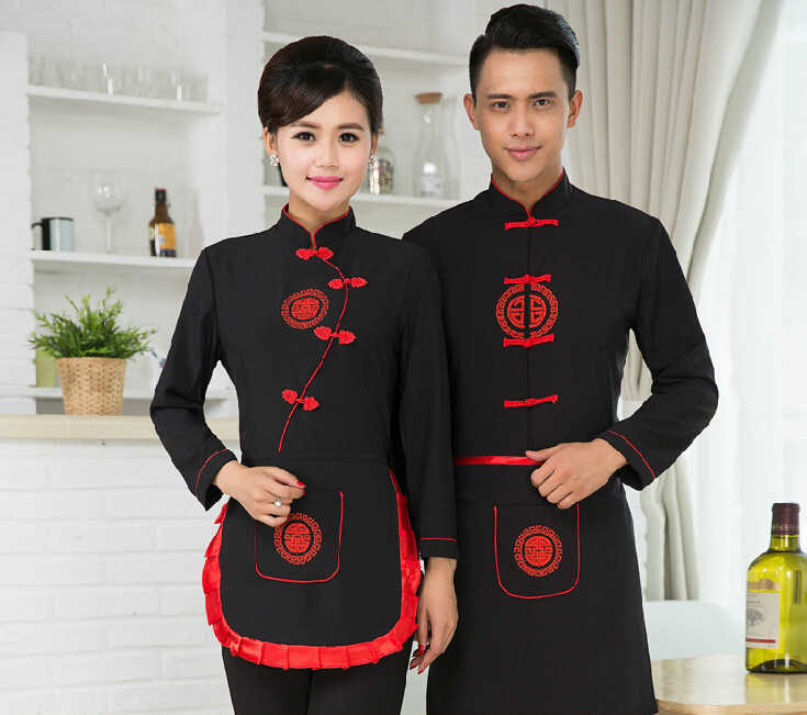 87e00a89 Detail Feedback Questions about Top+Apron Black Chinese Restaurant Waiter  Uniforms Long Sleeve Hotel Waitress Uniform Chef jacket Food Uniform 89 on  ...