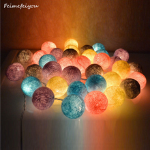 10/20/35 LED Cotton Ball Light String Holiday Wedding Christmas Party Bedroom Fairy Lights Outdoor Light Garland Decoration