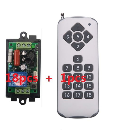 220V 1CH Radio Wireless Remote Control Switch light lamp LED ON OFF 18 Receivers&1transmitter Learning Code Output Adjusted new 220v 1ch radio remote control switch light lamp led on off 6receiver