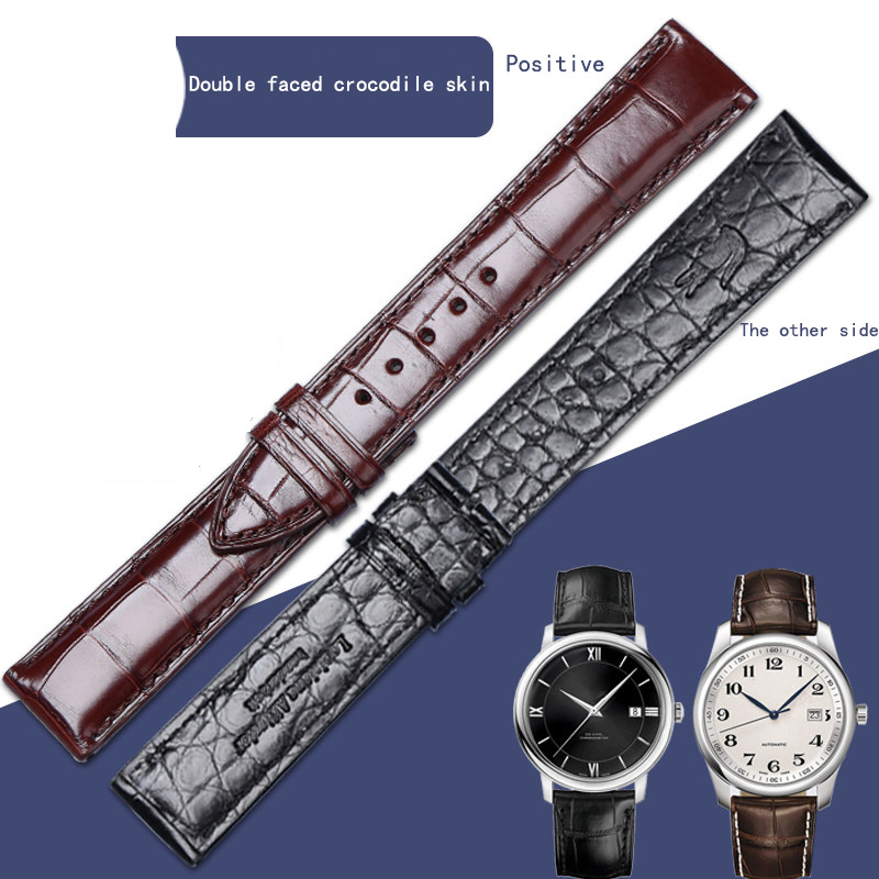 Double faced crocodile skin custom strap leather for men and women Longines famous Vacheron Constantin blue balloon women crocodile leather watch strap for vacheron constantin melisa longines men genuine leather bracelet watchband montre