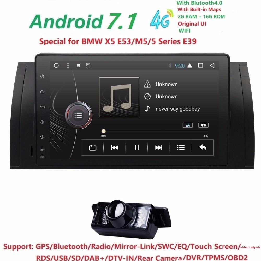 9 pollici Android 7.1 Quad Core 2g + 16g GPS Car DVD Player Registratore a Nastro Radio 4 GWifi per BMW E39 2002 2003 E38 X5 E53 M5 Range Rover