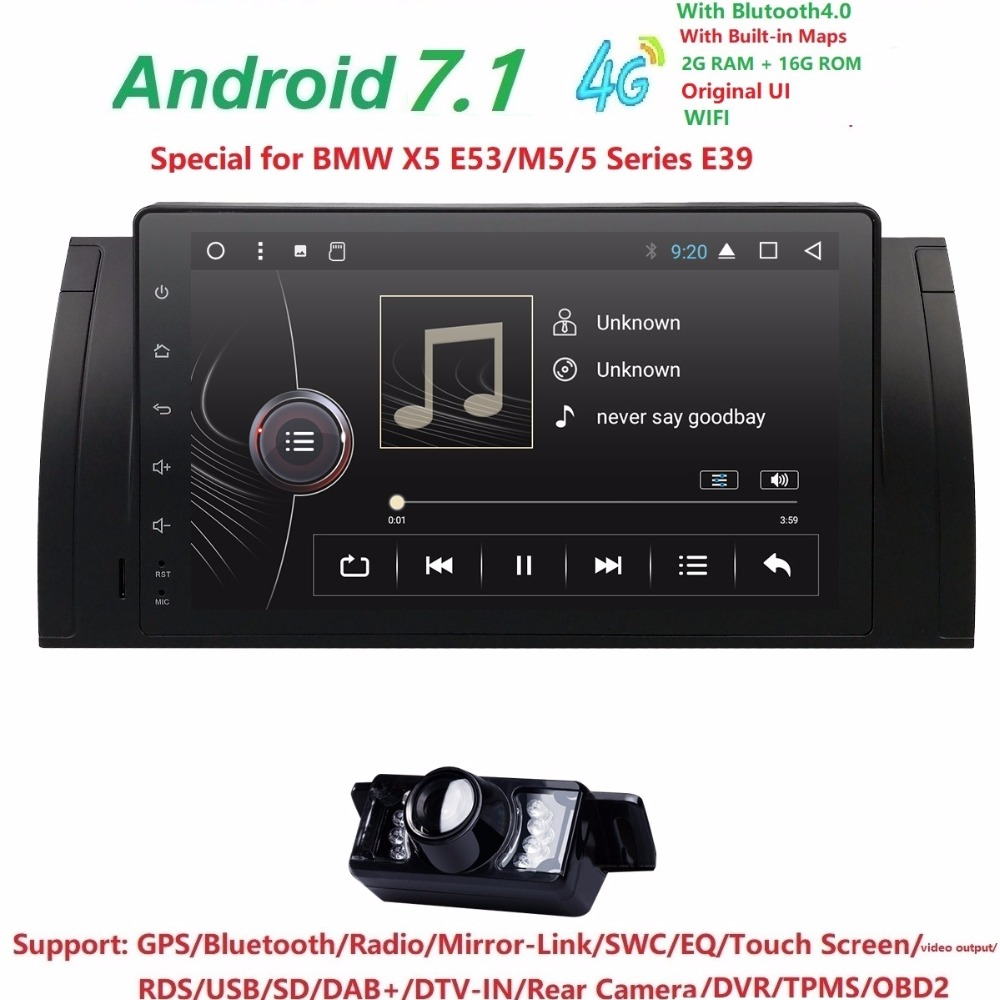 9inch Android 7.1 Quad Core 2G+16G GPS Car DVD Player Tape Recorder Radio 4GWifi For BMW E39 2002 2003 E38 X5 E53 M5 Range Rover часы женские valtera 91836