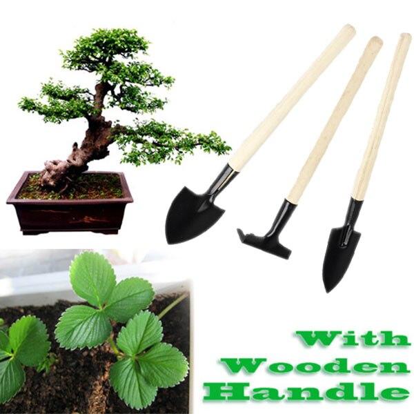 Mini Garden Plant Tool Set With Wooden Handle Gardening Tool Shovel Rake   ALI88
