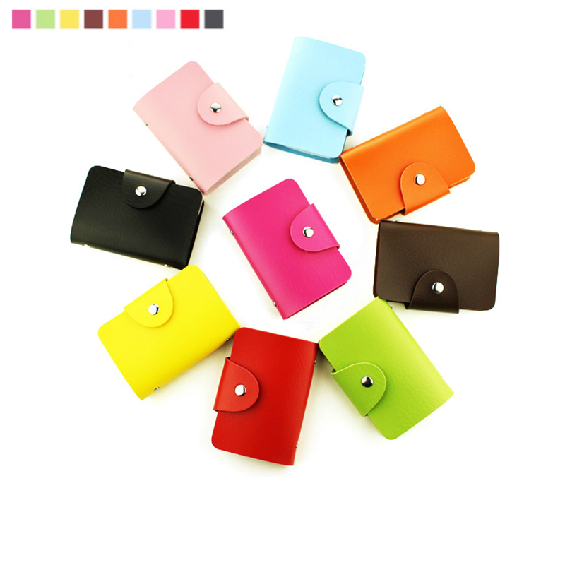 Coloffice Fashion 24 Pockets PU Commercial Business Card Book Kawaii Business Name Card Credit Bank Card Holder Random Color 1PC