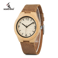 Бобо птица wa44 японский кварцевый Бамбук Деревянные Часы мягкий кожаный ремешок платье часы для Для женщин OEM груза падения