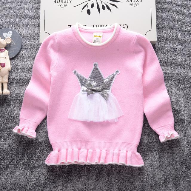 Invierno de manga larga de punto suéter de los niños patrón de nubes princesa suéter del bebé niñas niños toddler arropa el suéter niñas