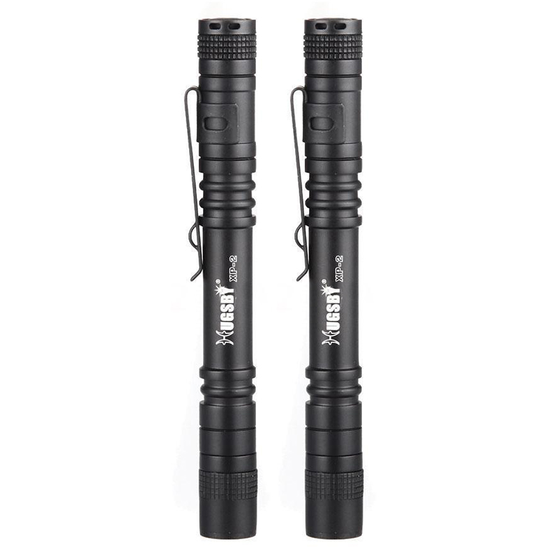 HUGSBY 2pcs XPE-R3 2AAA Clip Mini Pocket LED Flashlight Penlight Torch Light