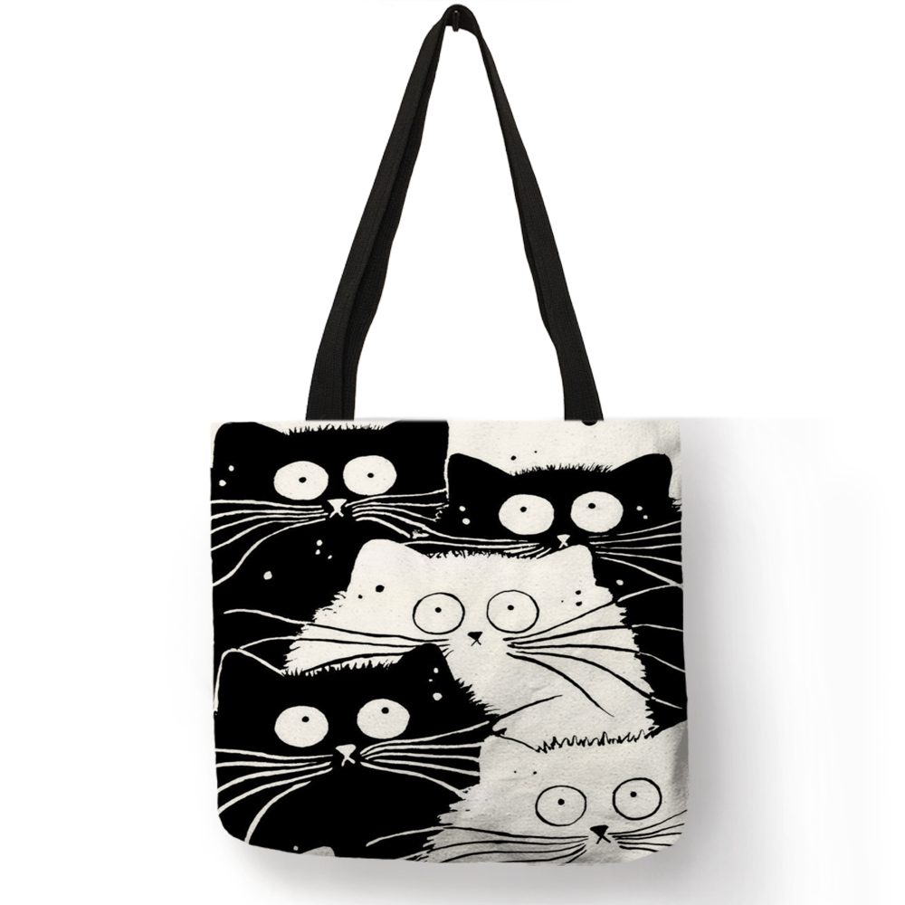 Customized Cute Cat Printing Women Handbag Linen Tote Bags with Print Logo Casual Traveling Beach Bags 6