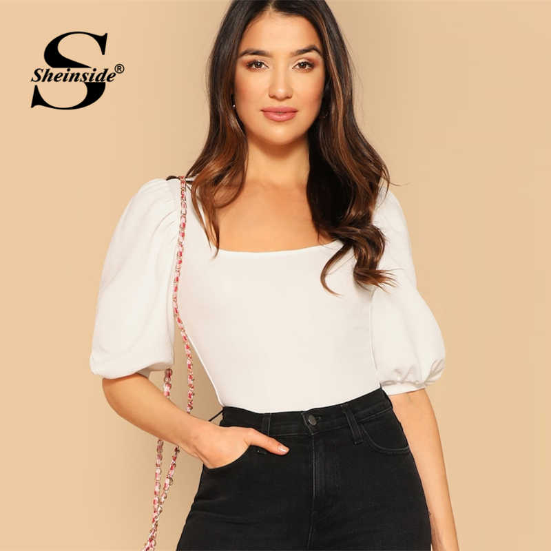 d538a7c6 ... Bishop Sleeve Button Detail Tee Female Half Sleeve T-shirts Ladies Slim  Black. RELATED PRODUCTS. Sheinside White Square Neck Elegant Puff Sleeve Top  ...