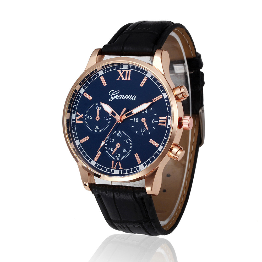 Men's Watches Hearty Geneva Fashion Men Date Alloy Case Synthetic Leather Analog Quartz Sport Watch Mens Watches Top Brand Luxury Masculino Reloj #35
