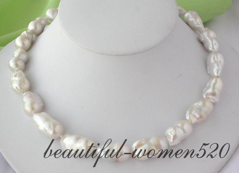 Z2191  huge 17 27mm white baroque keshi reborn pearl necklaceZ2191  huge 17 27mm white baroque keshi reborn pearl necklace
