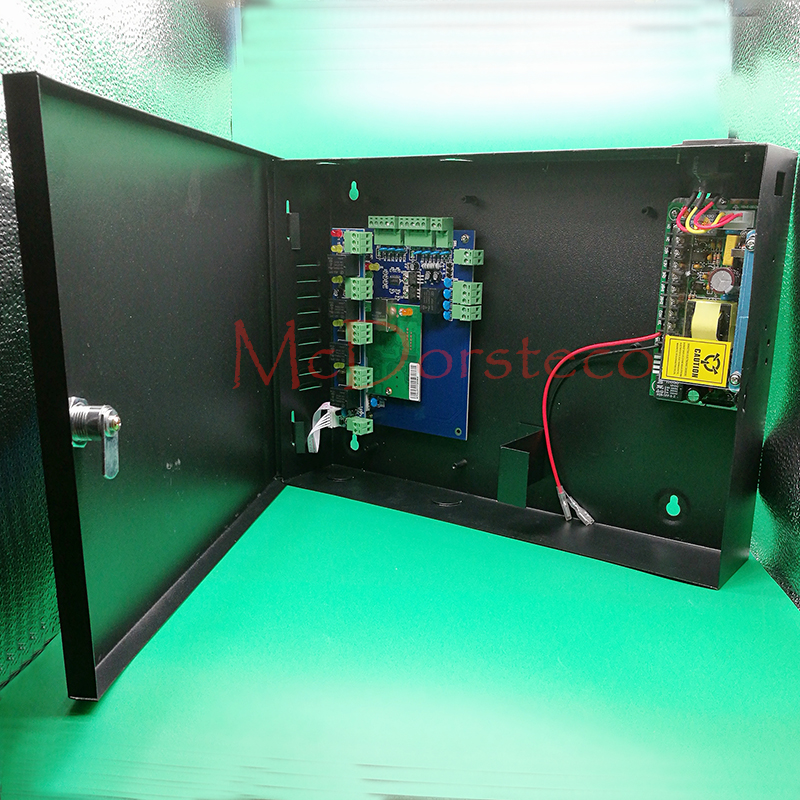 One Door Access Panel +12V5A Power Supply +Metal Protetive Box High Quality TCP/IP RFID Access Control System with Alarm Panel