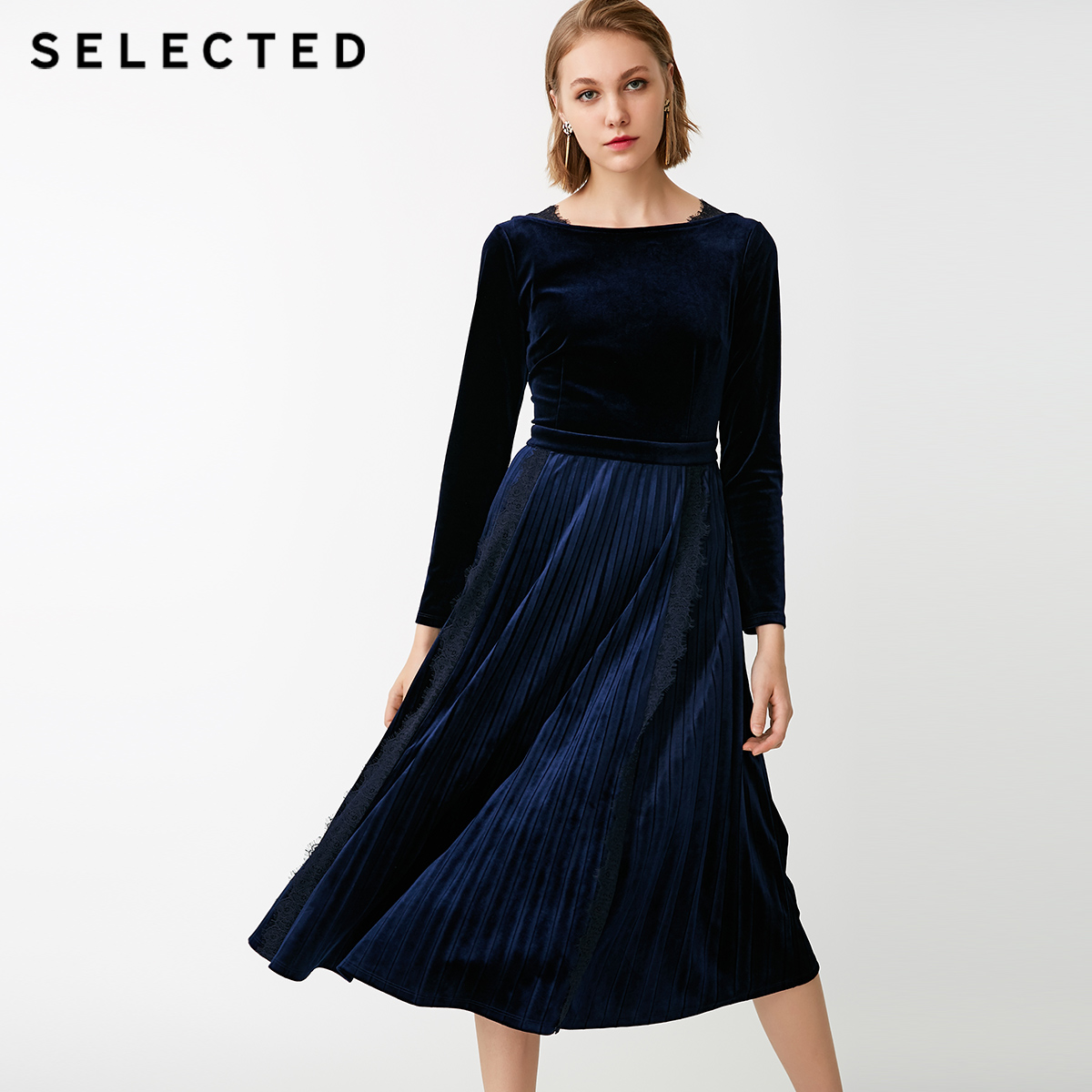 SELECTED ms ryder new lace stitching velvet long sleeved dress S 418461501