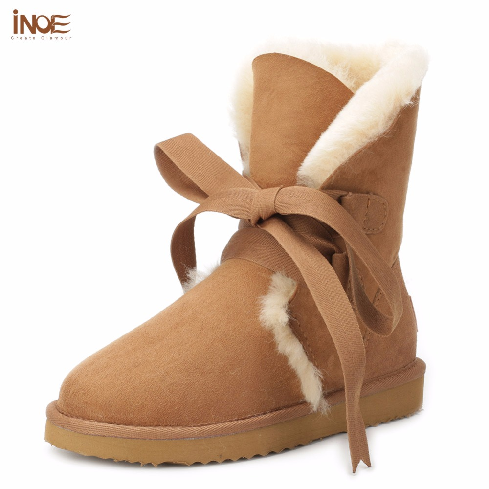 INOE genuine sheepskin leather fashion girls lace-up short suede snow boots for women sheep fur lined winter shoes flats brown inoe 2018 new genuine sheepskin leather sheep fur lined short ankle suede women winter snow boots for woman lace up winter shoes